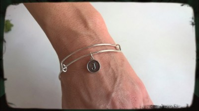 Personalised Stirling Silver Bangle with Initial Charm