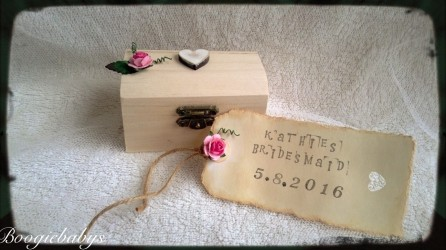 Personalised gift box shabby chic with personalised vintage shabby chic luggage tag