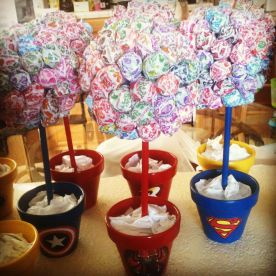 Centerpieces for a superhero birthday theme_ _ Party Ideas ___