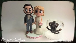 Bearded Groom and Hanging Cat from the Cake