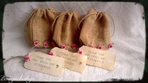Burlap wedding flowergirl gift bags vintage