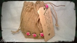 Hessian Jute Gift Bag with Flowers & Personalised Vintage Gift Tag