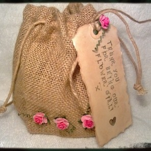 Hessian drawstring bag