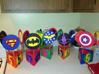 Superhero birthday party table centerpieces _ Superhero ___