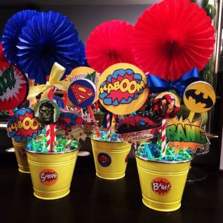 Superhero Centerpieces using free printables, straws and ___