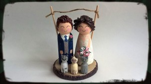 Wood and Clay Wedding Toppers with Clay Wood Slice Base