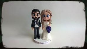 Classic Grey Suit, Ivory Dress, Purple Bouquet