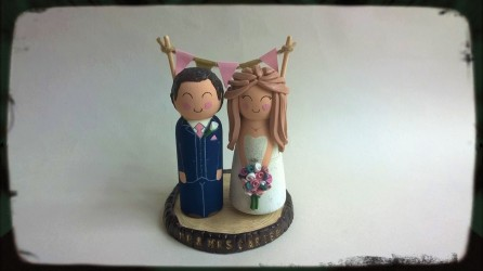 WoodenClayWeddingToppersWoodlandPinkGold