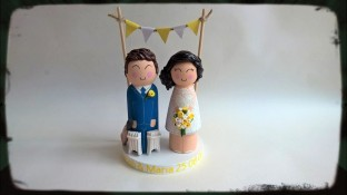 Wood and Clay Cricket Groom and Tea Dress Bride with Yellow Theme
