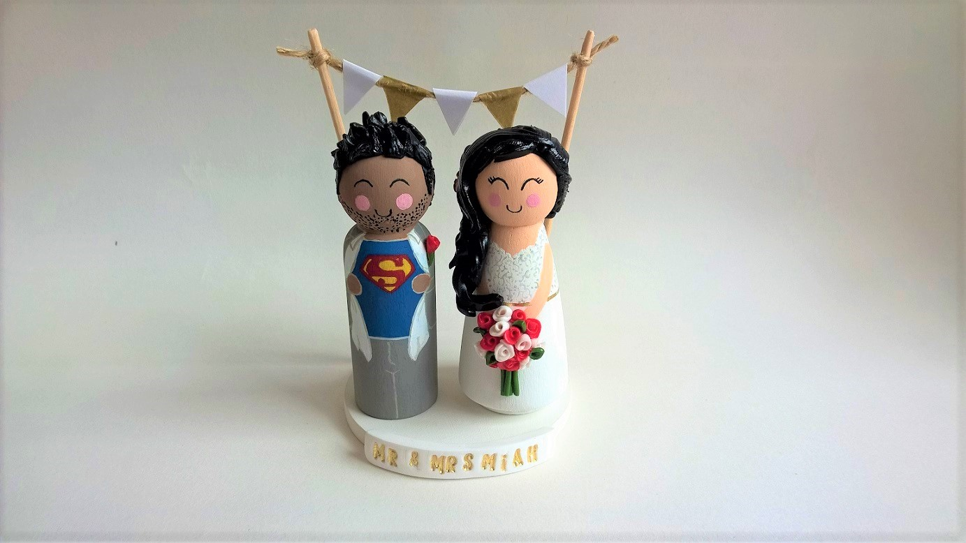 Superman Super Hero Themed Wedding Toppers