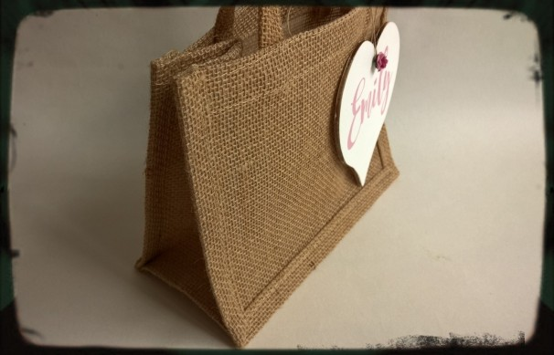 Personalised jute hessian block bottom gift bag