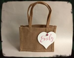 Burlap jute hessian gift bag with handles