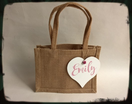 Personalised wooden heart with jute hessian gift bag set