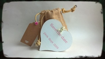 Reversible wooden save the date heart gift set
