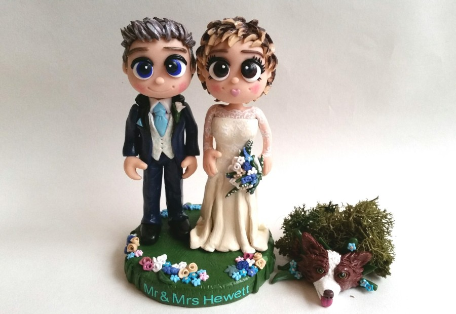 Aqua colour theme wedding cake toppers