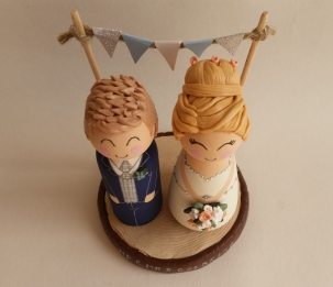 duckegg blue personalised cute wedding peg doll cake toppers